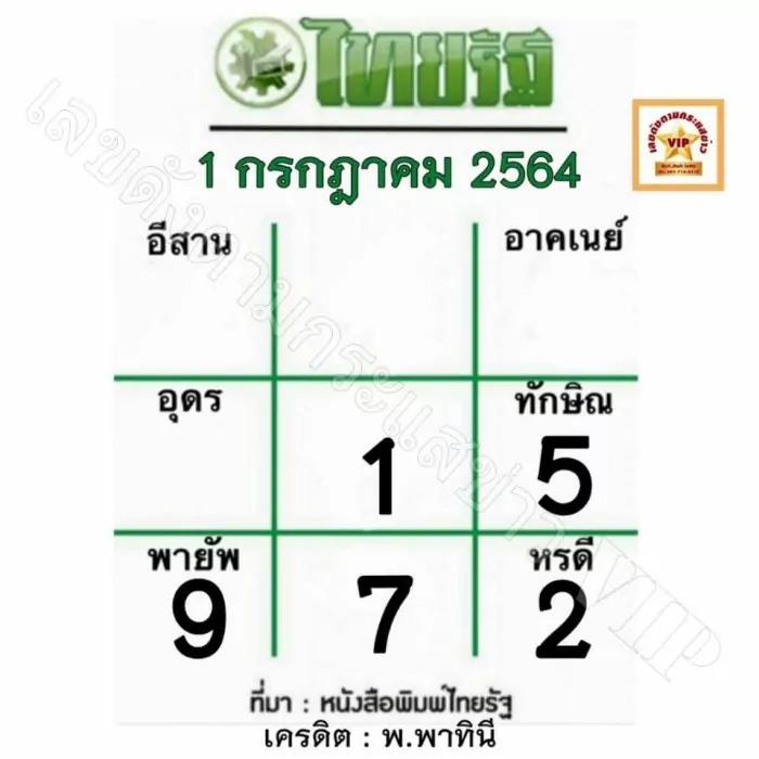หวยไทยรัฐงวดวันที่ 1/7/64 งวดนี้ล่าสุด