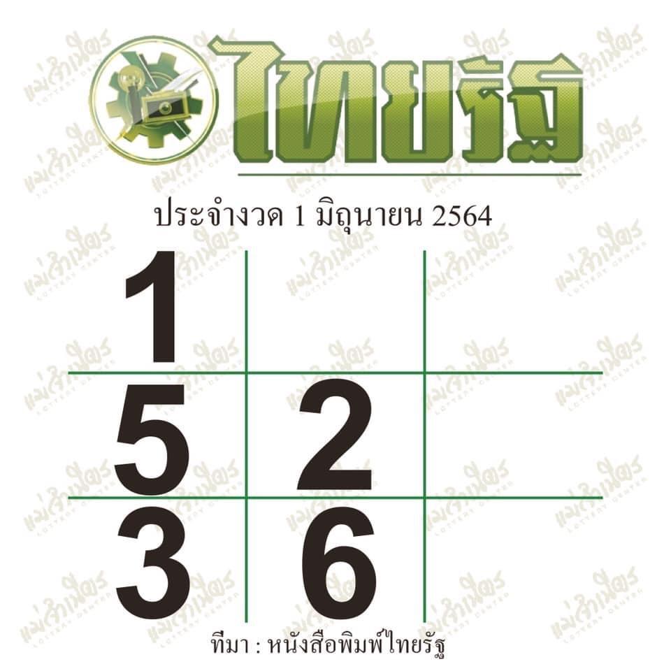 หวยไทยรัฐงวดวันที่ 1/6/64 งวดนี้ ล่าสุด
